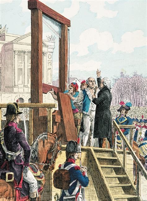 Man about to be executed by guillotine